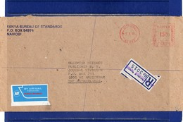 ##(DAN187)-1985-  Registered Air Mail Cover From Nairobi To Amsterdam (Holland) With EMA Franking - Kenya (1963-...)