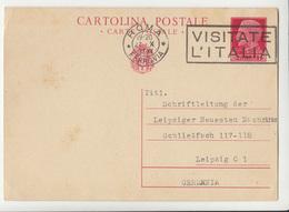 Italy Postal Stationery Postcard Cartolina Postale Travelled 1937 Roma To Leipzig B180715 - 1900-44 Vittorio Emanuele III