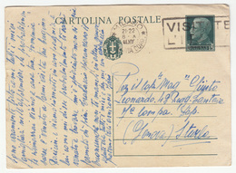 Italy Postal Stationery Postcard Cartolina Postale Travelled 1941 Milano To Genova B180715 - 1900-44 Vittorio Emanuele III