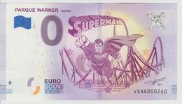 Billet Touristique 0 Euro Souvenir Espagne - Parque Warner 2018-1 N°VEAG000260 - Private Proofs / Unofficial