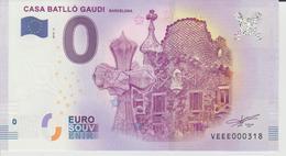Billet Touristique 0 Euro Souvenir Espagne - Casa Batllo Gaudi Barcelona 2018-3 N°VEEE000318 - Private Proofs / Unofficial