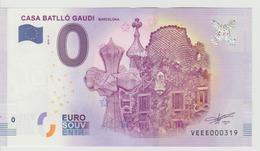 Billet Touristique 0 Euro Souvenir Espagne - Casa Batllo Gaudi Barcelona 2018-3 N°VEEE000319 - Private Proofs / Unofficial
