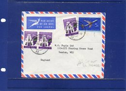 ##(DAN187)-1967-  Air Mail Cover From Johannesburg To London Franked With 5c Cut Out - Sud Africa (1961-...)