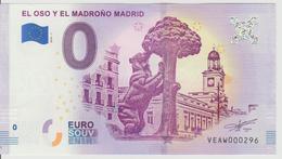 Billet Touristique 0 Euro Souvenir Espagne - El Oso Y El Madrono Madrid 2018-1 N°VEAW000296 - Private Proofs / Unofficial