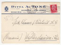 Ditta A. Tone Bambole - Giocattoli Torino Company Postcard Travelled 1935 To Germany B180715 - Storia Postale