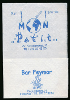 Serviette Publicitaire : BAR FEYMAR, Plaça Espanya, 14, FERRERIES, Menorca, Minorque (2 Scans) - Reclameservetten