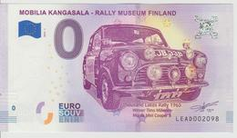 Billet Touristique 0 Euro Souvenir Finlande - Mobilia Kangasala-Rally Museum Finland 2018-1 N°LEAD002098 - Private Proofs / Unofficial