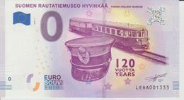 Billet Touristique 0 Euro Souvenir Finlande - Suomen Rautatiemuseo Hyvinkaa 2018-1 N°LEAA001333 - Private Proofs / Unofficial