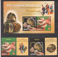 M266 2011 ROMANIA ART EGGS HANDICRAFT 1SET+1KB MNH - Art