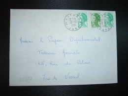 LETTRE TP LIBERTE DE GANDON 1,70 + 0,20 X2 OBL.13-10 1984 39 VITREUX JURA - Manual Postmarks