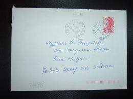 LETTRE TP LIBERTE DE GANDON 2,20 OBL.2-10 1987 LES MATELLES HERAULT (34) - Marcophilie (Lettres)