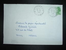 LETTRE TP LIBERTE DE GANDON 1,70 OBL.8-10 1984 39 VITREUX JURA - Manual Postmarks