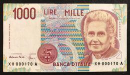 1000 Lire Maria Montessori Serie Sostitutiva XH 1998 Bb+ Numeri Bassi 000170 LOTTO 1895 - 1000 Lire