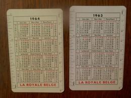 2 Stuks  Kleine Kalender LA  ROYALE  BELGE    1963 - 1964 - Calendriers