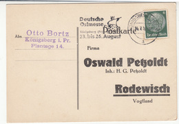 Deutsche Ostmesse Slogan Postmark On Oswal Petzoldt, Rodewisch Reply Postcard Travelled 1936 Konigsberg B180715 - Germania