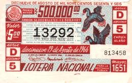 Lotería Nacional Para La Asistencia Pública Mexico Mexique Billet De Loterie - Billets De Loterie