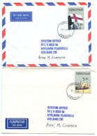 Faroes 1990 2 Airmail Covers To Iceland W/ Scott 207a & 207b Flag & Ship - Faroe Islands