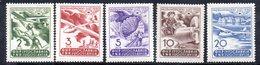 YUG69B - YUGOSLAVIA 1950, POSTA AEREA  Unificato N. 27/31  Nuovi  ***  Macchie Al Retro - Posta Aerea