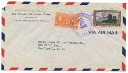 Panama 1945 Airmail Cover To U.S. W/ Scott C75 & RA17 - Panama