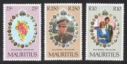 MAURITIUS 1981 ROYALTY ROYAL WEDDING CHARLES & DIANA SET MNH - Mauritius (1968-...)