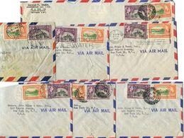 Trinidad & Tobago 1950's 7 Airmail Covers To U.S. W/ Scott 78-79, 2 Slogan Cancels - Trinidad & Tobago (...-1961)