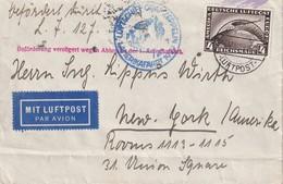 ALLEMAGNE 1929 LETTRE DE FRIEDRICHSHAFEN PAR LUFTSCHIFF GRAF ZEPPELIN  LZ 127 POUR NEW YORK - Airmail
