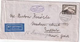 ALLEMAGNE 1928 LETTRE DE FRIEDRICHSHAFEN PAR LUFTSCHIFF GRAF ZEPPELIN  LZ 127 POUR NEW YORK - Luftpost