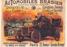 """PUB Publicité  NUGERON  I 6- Nos Transports En 1900 - Automobiles BRASIER """"Le Trèfle  à 4 Feuilles"""" (auto° *PRIX FIXE - Advertising"""