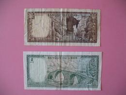 Billet   Banque Du Liban    1 Et 5 Livre - Liban