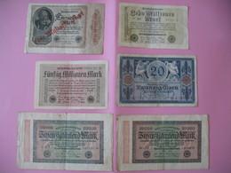 Allemagne  Lot De 6  Billet    Reichsbanknote - Allemagne