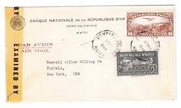 Haiti WAR SURCHARGE VICTIMS AIRMAIL CENSORED COVER TO USA 1944 - Haiti