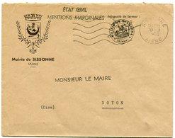 AISNE De SISSONNE  Env. à En Tête De La Mairie Avec EMO  Du 10/09/1960 - Poststempel (Briefe)