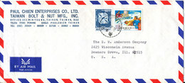 Taiwan Air Mail Cover Sent To USA 1992 Topic Stamps - 1945-... Republic Of China