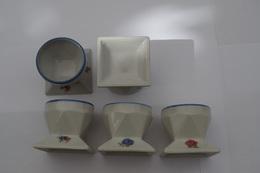 B/lot De 5 Coquetiers Décalco Rose Porcelaine Années 30 - 50 ? - Limoges (FRA)