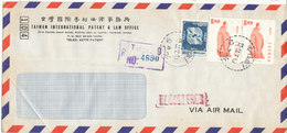 Taiwan Registered Air Mail Cover Sent To Denmark Taipei 10-3-1977 - 1945-... Republic Of China