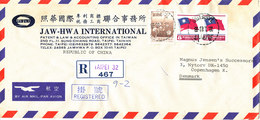 Taiwan Registered Air Mail Cover Sent To Denmark Taipei 28-1-1983 - 1945-... Republic Of China