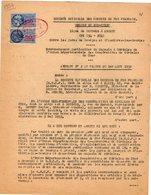 VP12.727 - PARIS - Acte De 1954 - Entre La S.N.C.F Ligne De BOURGES à ARGENT - Gare D'ASNIERES & La Coopérative ... - Chemin De Fer