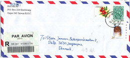 Taiwan Registered Air Mail Cover Sent To Denmark 26-3-1996 Topic Stamps - 1945-... Republic Of China