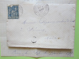 ENVELOPPE + LETTRE écrite à BUSSY-LA-PESLE (Nièvre) 5/01/1897 Obitéré BRINON-LES-ALLEMANDS & PREMERY / Sage 15c Bleu - Marcophilie (Lettres)