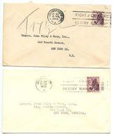 South Africa 1955 2 Covers Johannesburg To U.S. W/ Scott 203 Zebra, Fight Cancer Slogan - South Africa (...-1961)