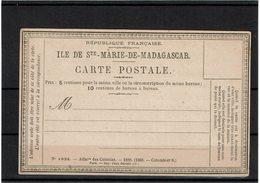 LCA11 - STE MARIE DE MADAGASCAR AVIS D'ARRIVEE D'UN PLI RECOMMANDE ACEP AR CP 1 NEUVE - Madagascar - Sainte-Marie (1894-1898)