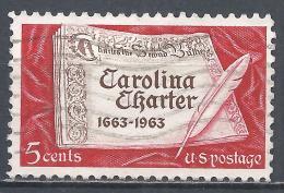 United States 1963. Scott #1230 (U) Carolina Charter * - Etats-Unis