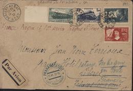 Par Avion Manuscrit Rouge France Prague 1er Service Prague Libérée Tampon Praha Letiste I Let Praha Liberec 15 VI 37 16 - Marcophilie (Lettres)