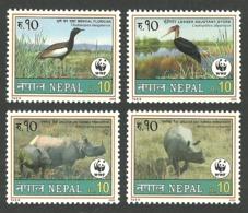 NEPAL 2000 WWF WORLD WILDLIFE FUND BIRDS FLORICAN STORK RHINO SET MNH - Nepal
