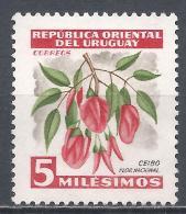 Uruguay  1954. Scott #605 (M) Ceibo, Natl. Flower * - Uruguay