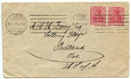 Germany 1921 Cover Hamburg To Portland, Oregon W/ Scott 124, Pair - Deutschland