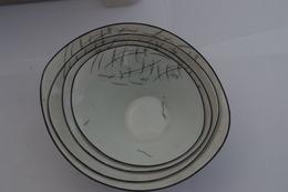 B/ Original Assiette Soupe ?  Bols Gigogne Porcelaine Limoges Atlantic Blanc Et Noirs - Limoges (FRA)