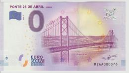 Billet Touristique 0 Euro Souvenir Portugal - Ponte 25 De Abril Lisboa 2018-1 N°MEAA000376 - Private Proofs / Unofficial