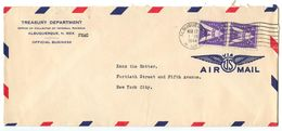 United States 1944 Airmail Cover Albuquerque, New Mexico - Treasury Department - Brieven En Documenten
