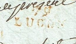 VENDEE 85 LAC Du 01/10/1793 écrite à LUCON , 79 LUCON Rouge Taxe 10 Tarif De 1792 TTB - Postmark Collection (Covers)
